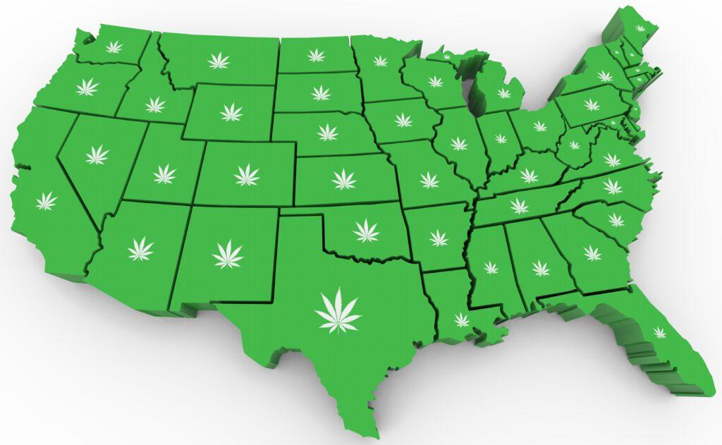 Marijuana Pot Weed Cannabis United States America USA Map 3d Illustration